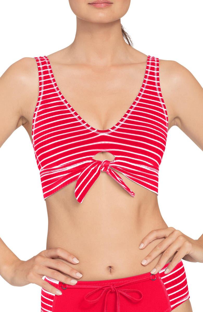 ROBIN PICCONE Sailor Tie Knot Bikini Top, Main, color, FIERY RED/ WHITE