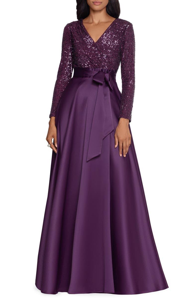 XSCAPE Long Sleeve Sequin Ballgown, Main, color, PLUM