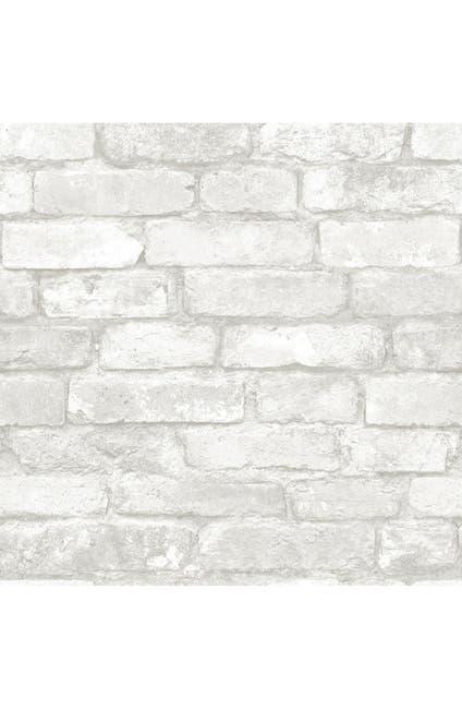 Image of WallPops! Grey & White Brick Reusable Peel & Stick Vinyl Wallpaper