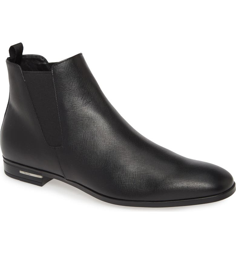 PRADA Saffiano Chelsea Boot, Main, color, NERO