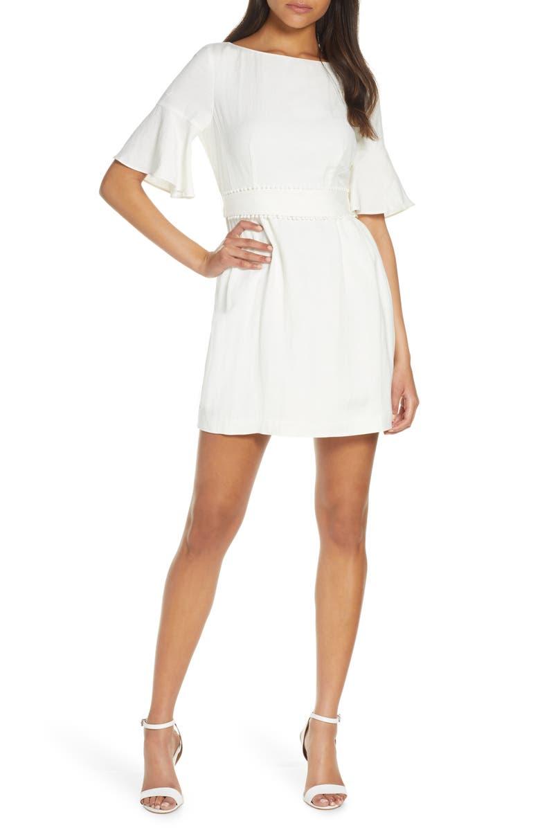 ELIZA J Pompom Detail Bell Sleeve Linen Blend Minidress, Main, color, IVORY