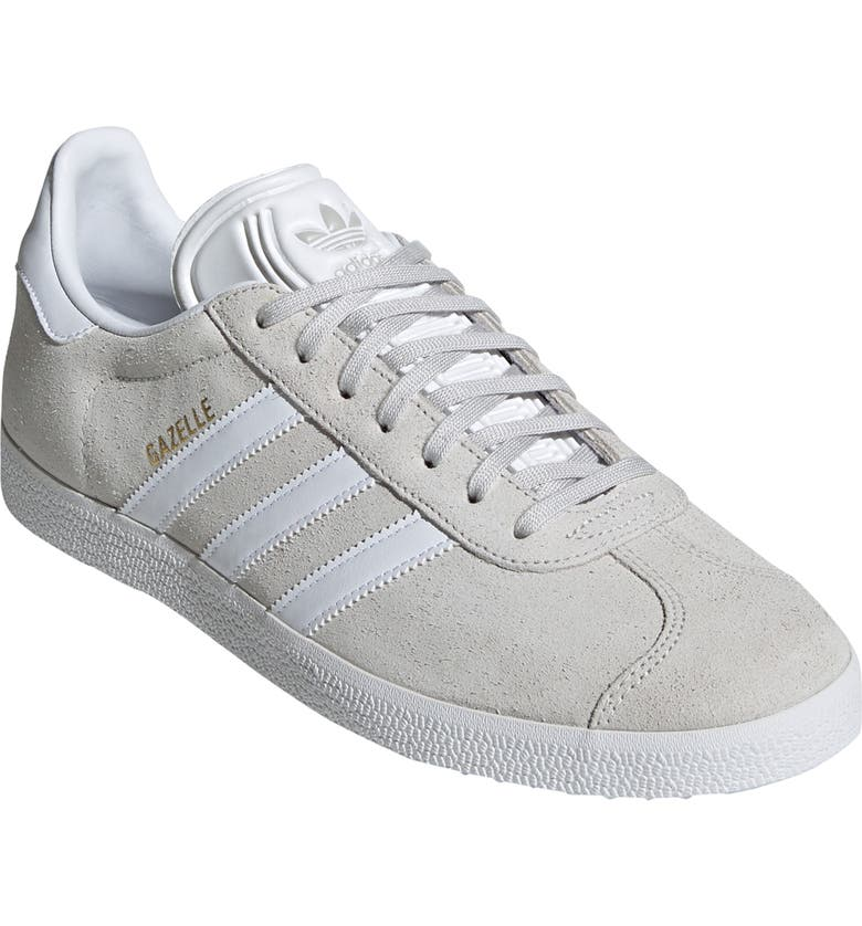 ADIDAS Gazelle Sneaker, Main, color, GREY ONE/ WHITE/ GOLD