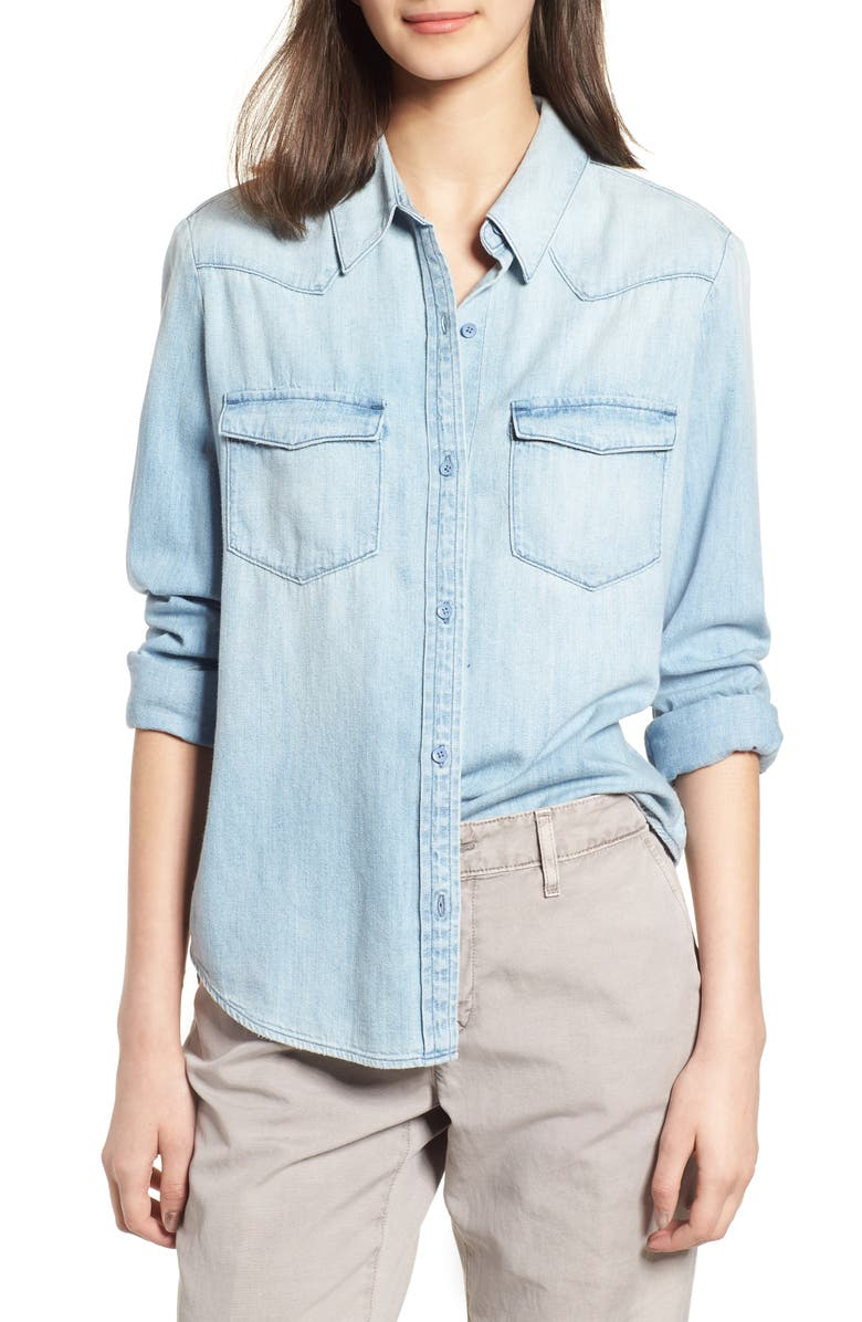 AG Deanna Denim Shirt, Main, color, MARQUIS