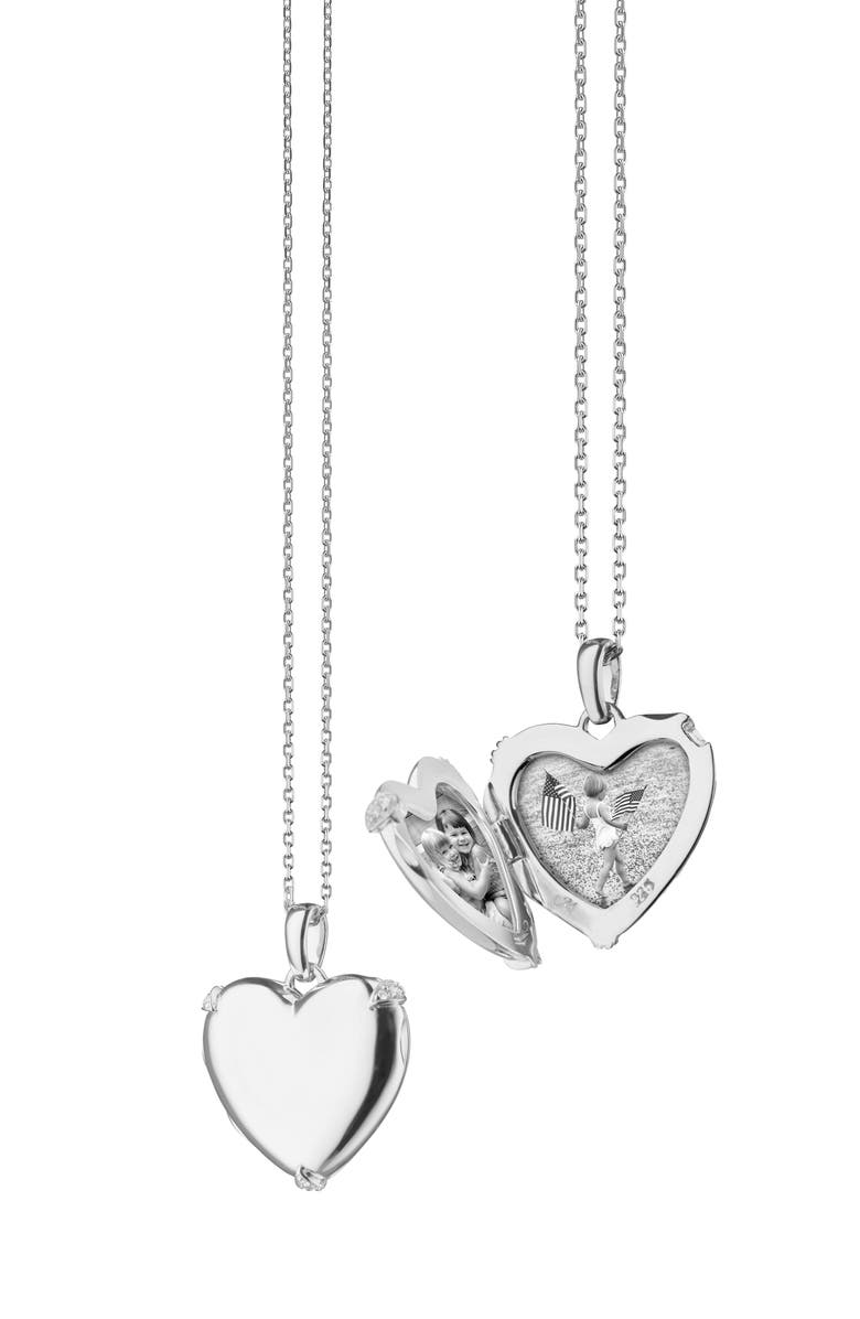 MONICA RICH KOSANN Slim Heart Locket Necklace, Main, color, SILVER/ WHITE SAPPHIRE
