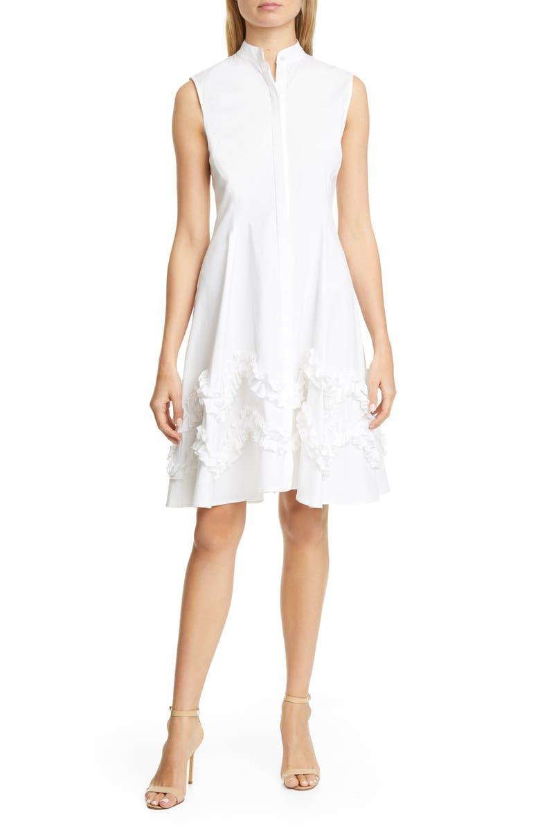 LELA ROSE Ruffle Hem Stretch Poplin Shirtdress, Main, color, 110