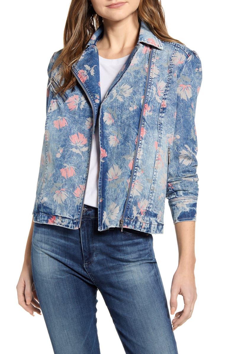 WASH LAB Floral Print Denim Moto Jacket, Main, color, 402