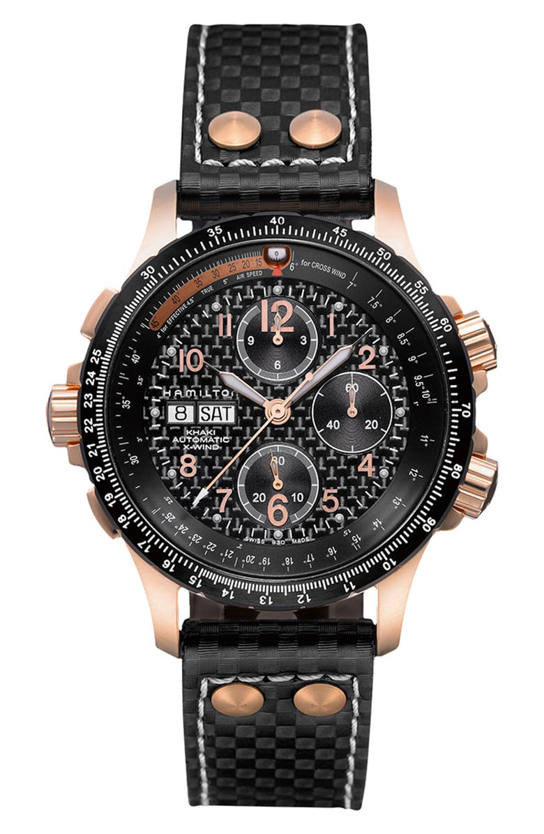 HAMILTON Khaki X-Wind Automatic Chronograph Leather Strap Watch, 44mm, Main, color, BLACK/ ROSE GOLD