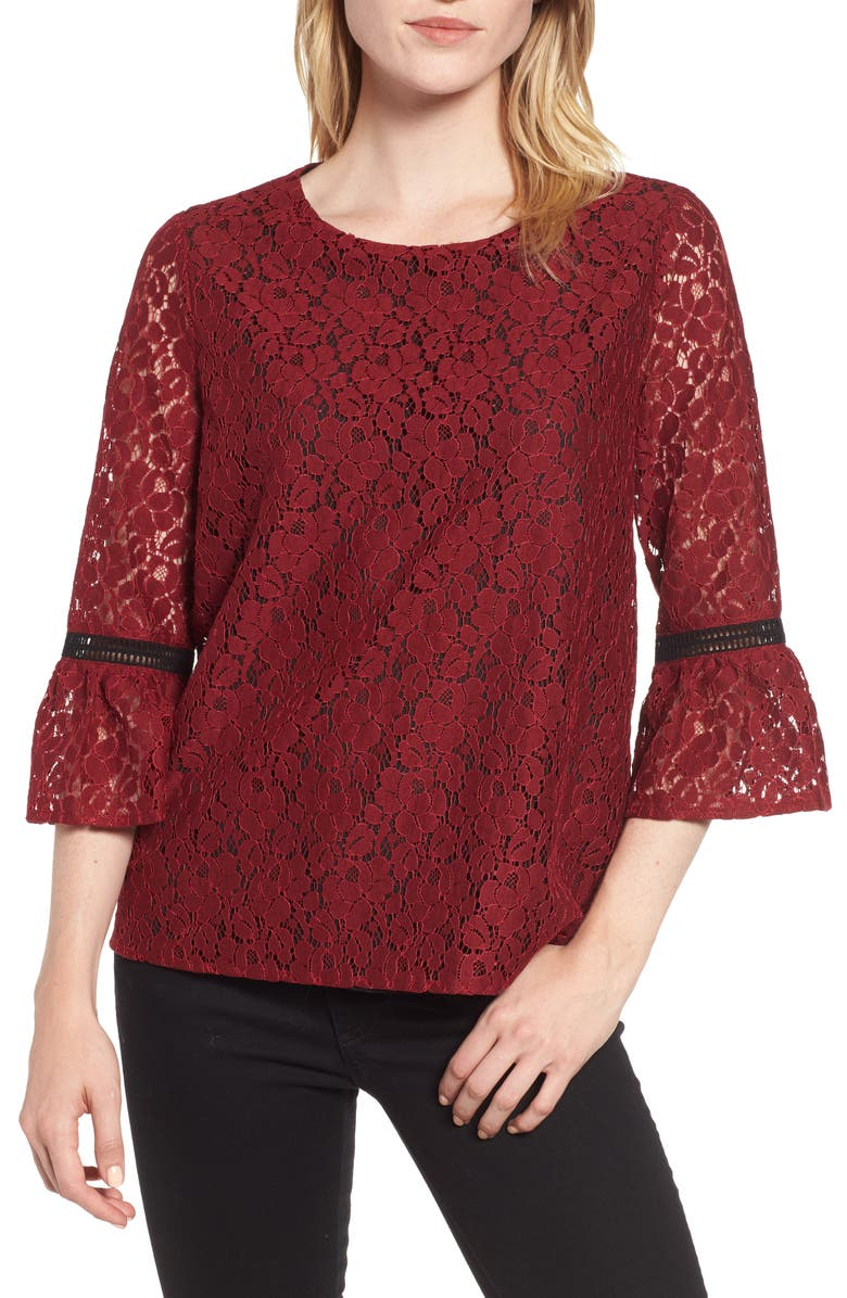 GIBSON x Glam Squad Erin Allover Lace Bell Sleeve Top, Main, color, 600
