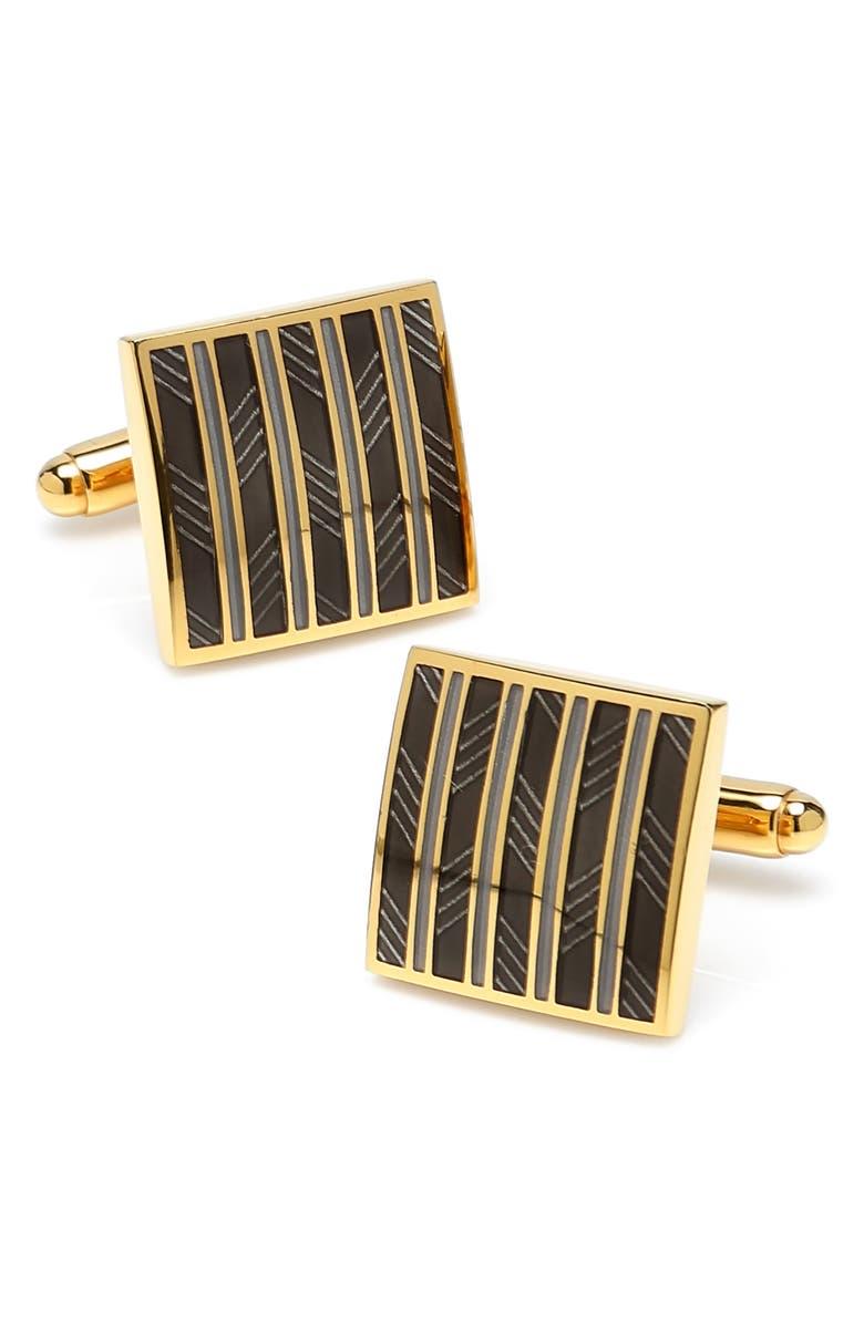 CUFFLINKS, INC. Stripe Square Cuff Links, Main, color, GOLD