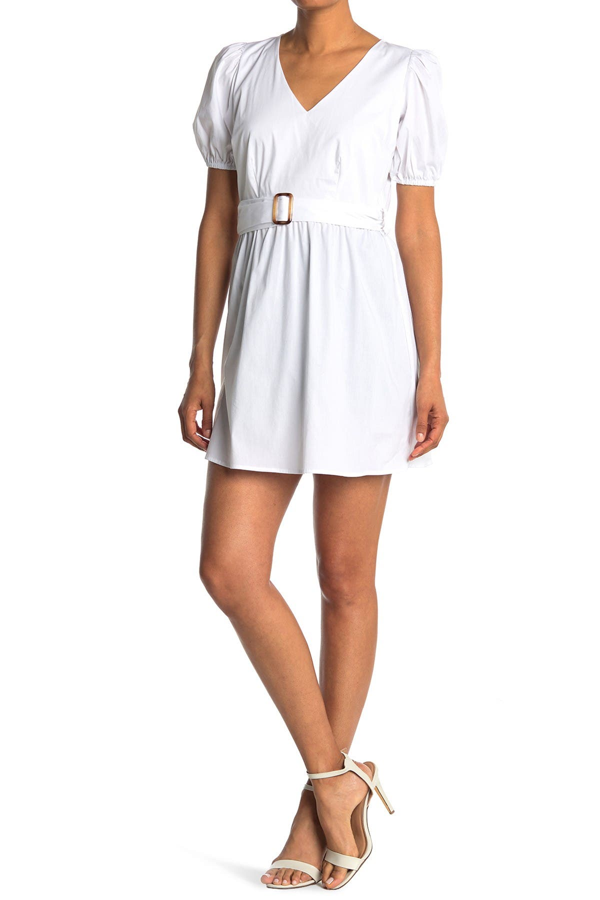 Image of KENEDIK Belted Puff Sleeve Poplin Dress