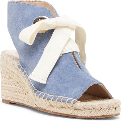 Sole Society Cambrine Lace-Up Wedge Espadrille Sandal, Blue