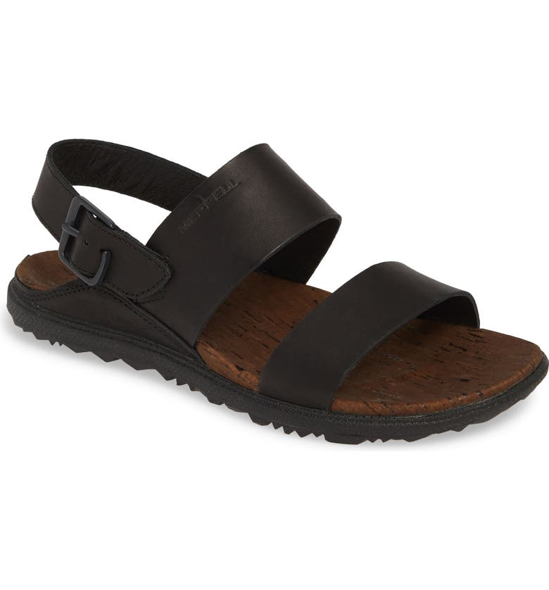 MERRELL Around Town Luxe Backstrap Sandal, Main, color, BLACK LEATHER