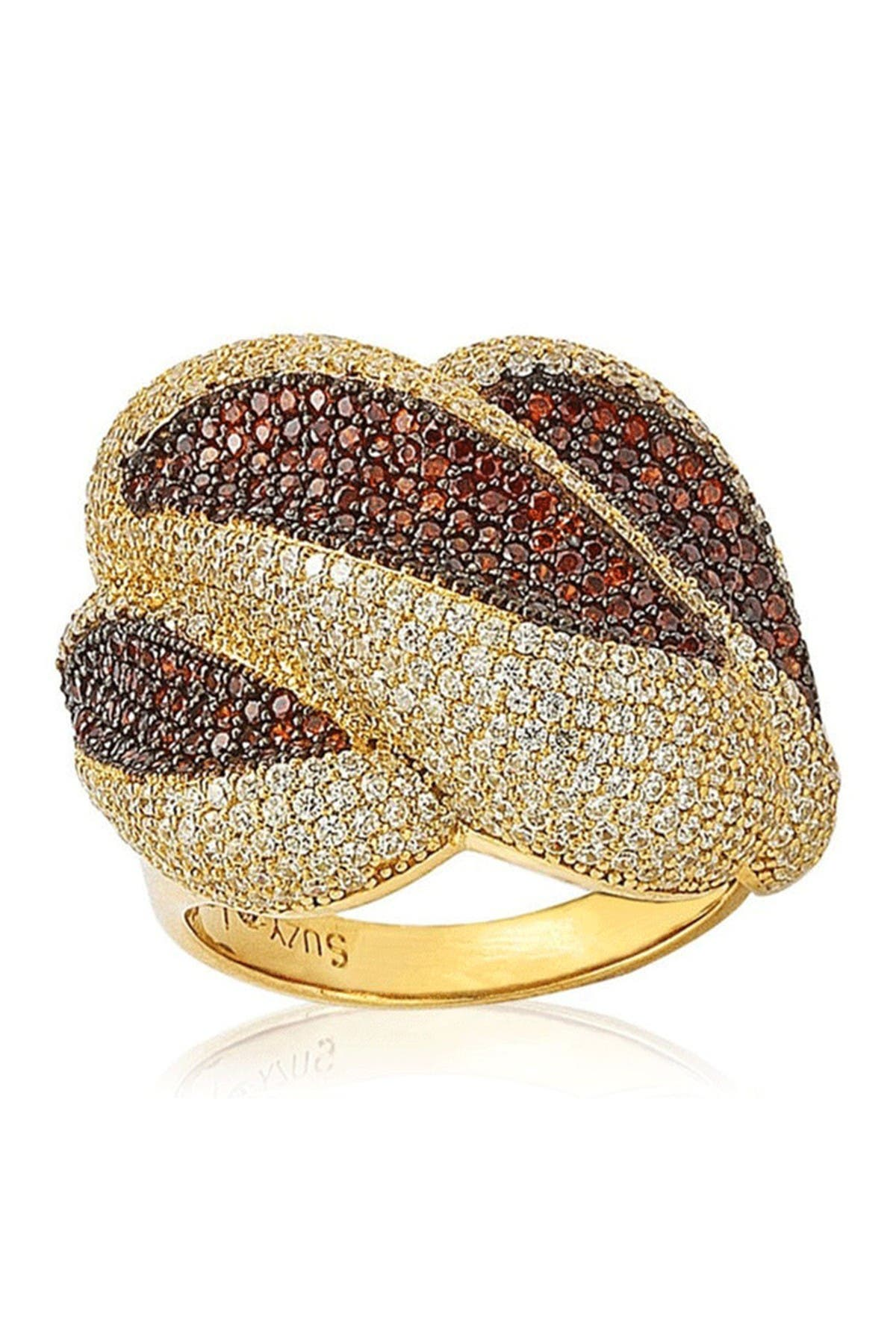 Image of Suzy Levian Yellow-Tone Sterling Silver Pave CZ Swirl Ring