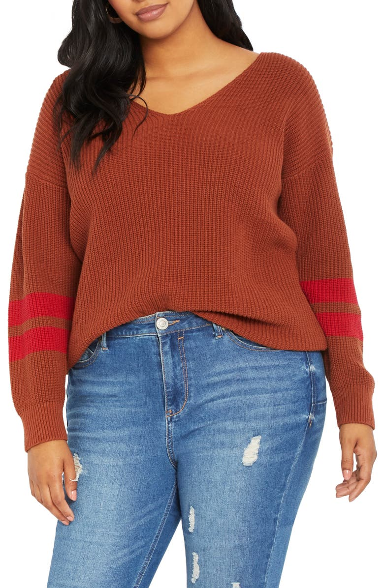 ELOQUII Stripe Sleeve Cotton Blend Shaker Stitch Sweater, Main, color, 800