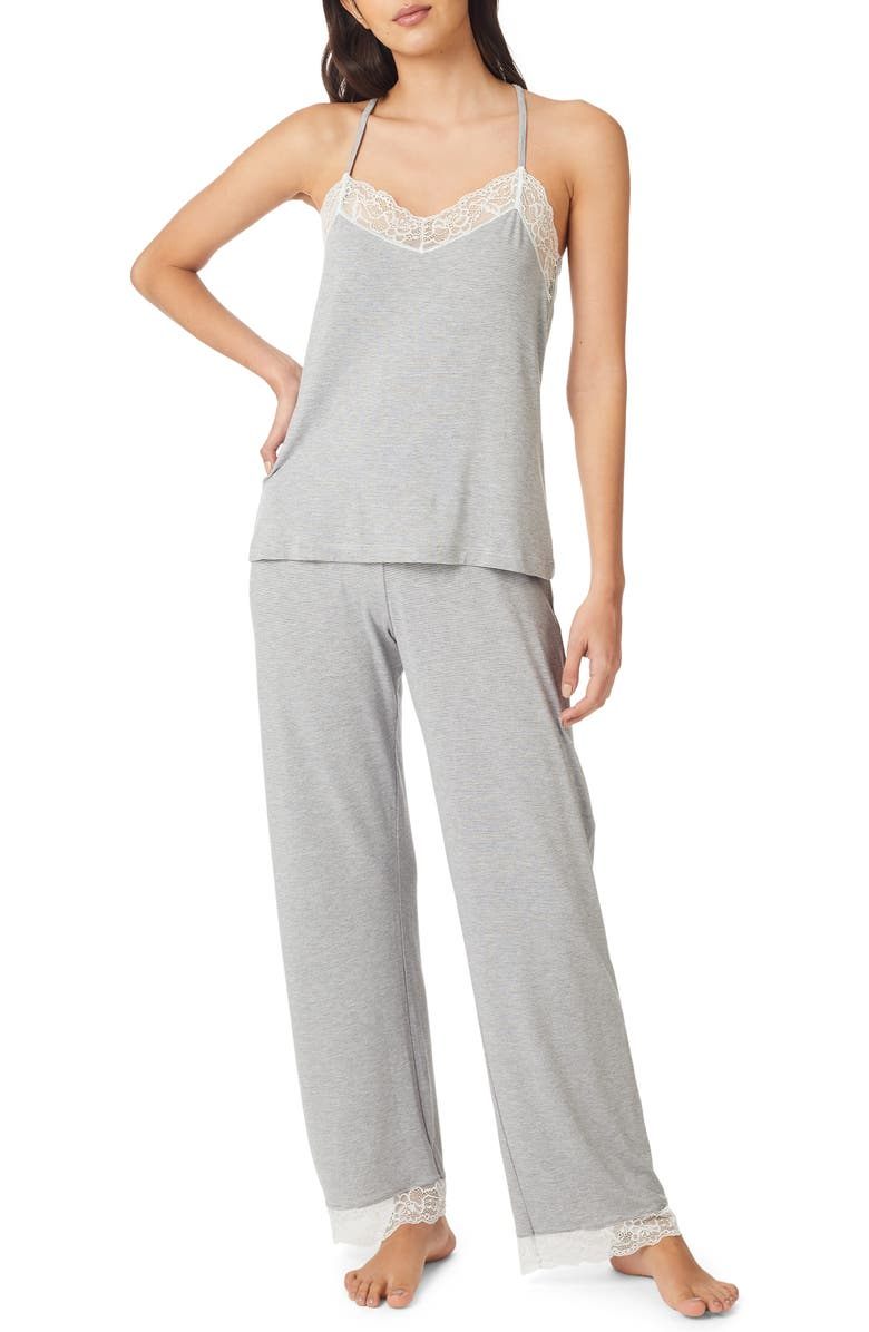 THE WHITE COMPANY Lace Back Pajamas, Main, color, 020