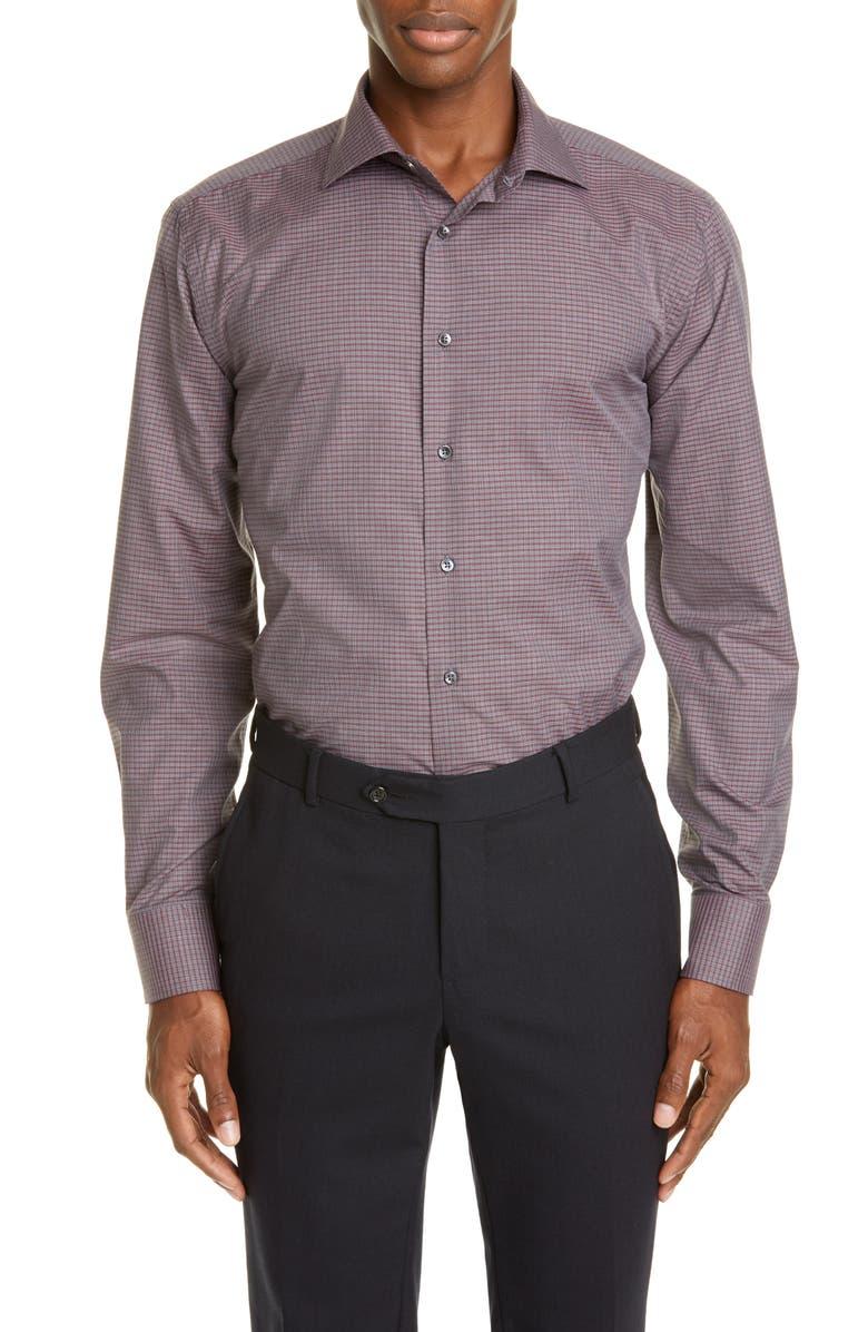 CANALI Regular Fit Plaid Dress Shirt, Main, color, DARK RED
