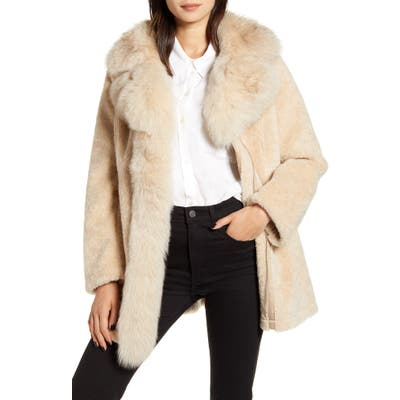 Derek Lam 10 Crosby Genuine Shearling & Fox Fur Coat, Beige