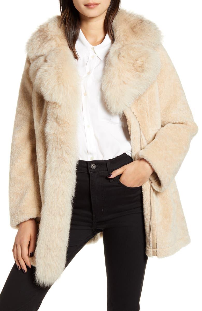 DEREK LAM 10 CROSBY Genuine Shearling & Fox Fur Coat, Main, color, 250