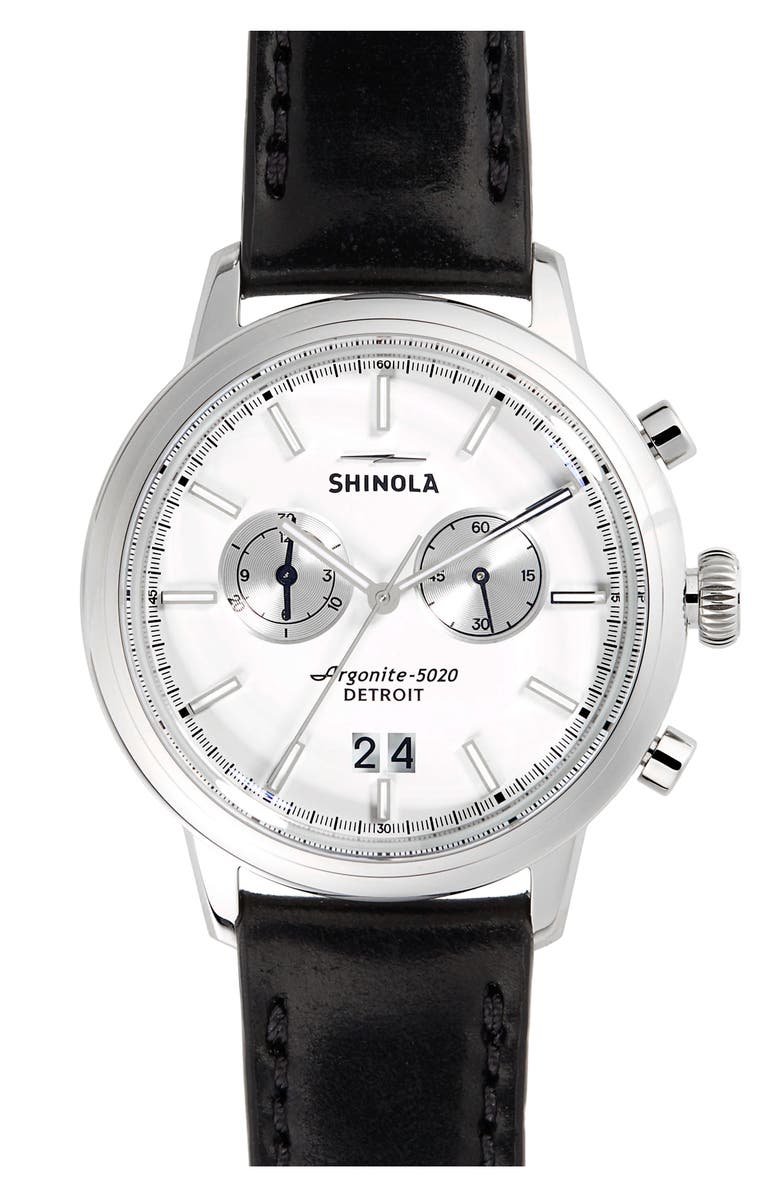 SHINOLA The Bedrock Chronograph Leather Strap Watch, 42mm, Main, color, BLACK/ WHITE/ SILVER