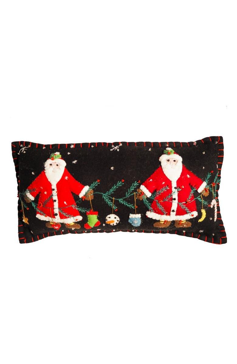 NEW WORLD ARTS Two Santas Pillow, Main, color, BLACK