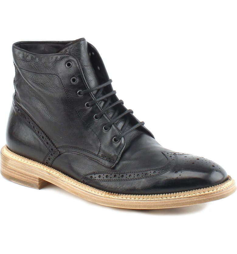 GORDON RUSH Max Wingtip Boot, Main, color, BLACK LEATHER