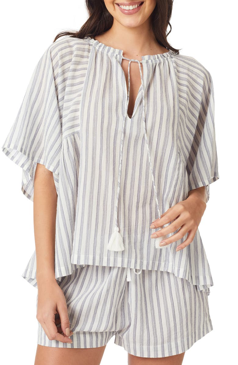 THE WHITE COMPANY Tassel Tie Cotton Pajama Top, Main, color, 100