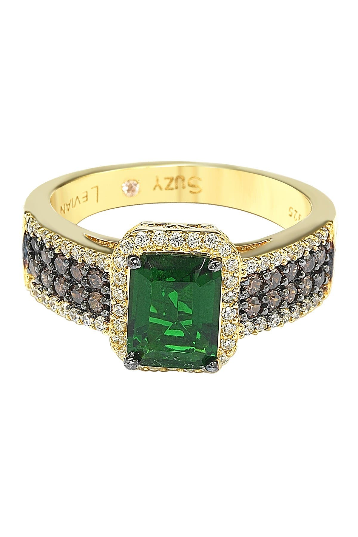 Image of Suzy Levian Gold-Tone Sterling Silver Green, Brown, & White CZ  Engagement Ring