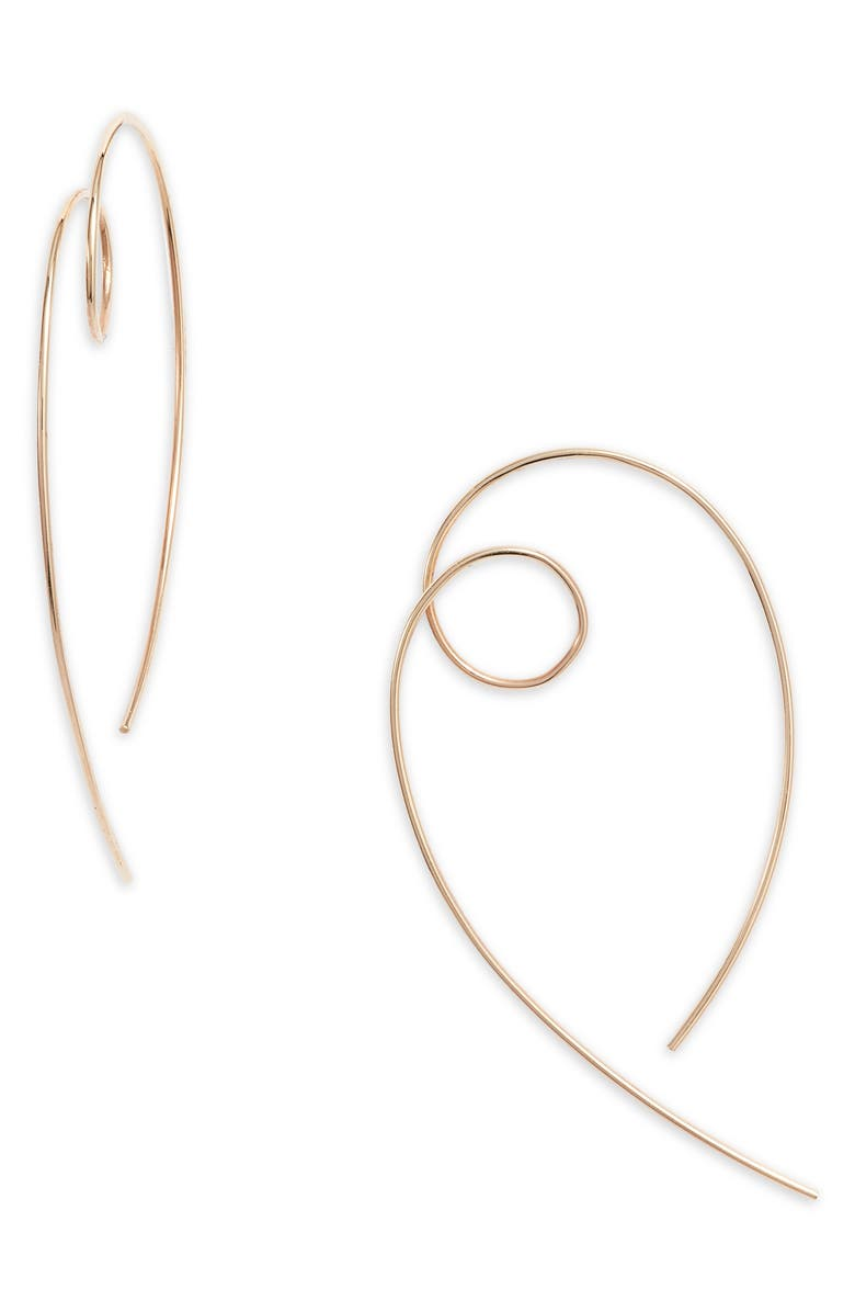 LANA JEWELRY Casino Hooked On Loop Hoop Earrings, Main, color, YELLOW GOLD