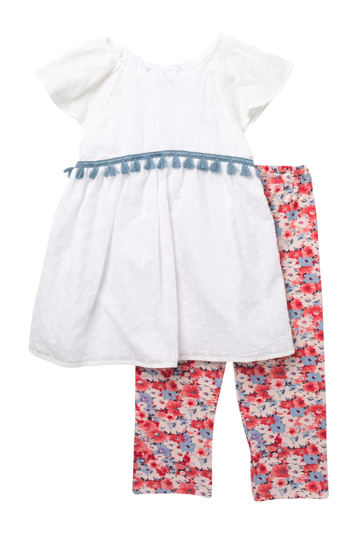 Image of Pastourelle by Pippa and Julie Floral Eyelet 2-Piece Top & Leggings Set