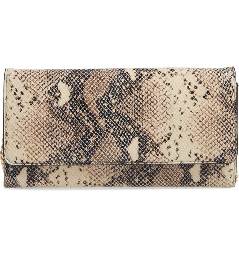 NORDSTROM Selena Leather Clutch, Main, color, SNAKE