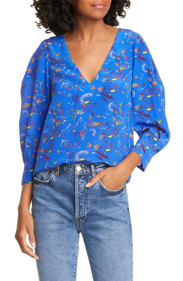 TANYA TAYLOR Rena Floral Silk Blouse, Main, color, SURREAL FLORAL - BLUE