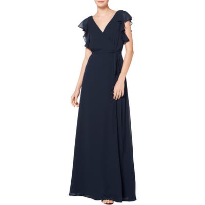 #levkoff Ruffle Sleeve Chiffon Wrap Evening Dress, Blue