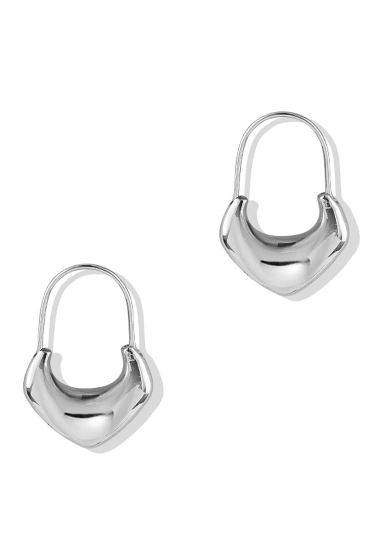 Image of Argento Vivo Sterling Silver Puff Chevron Hoop Earrings