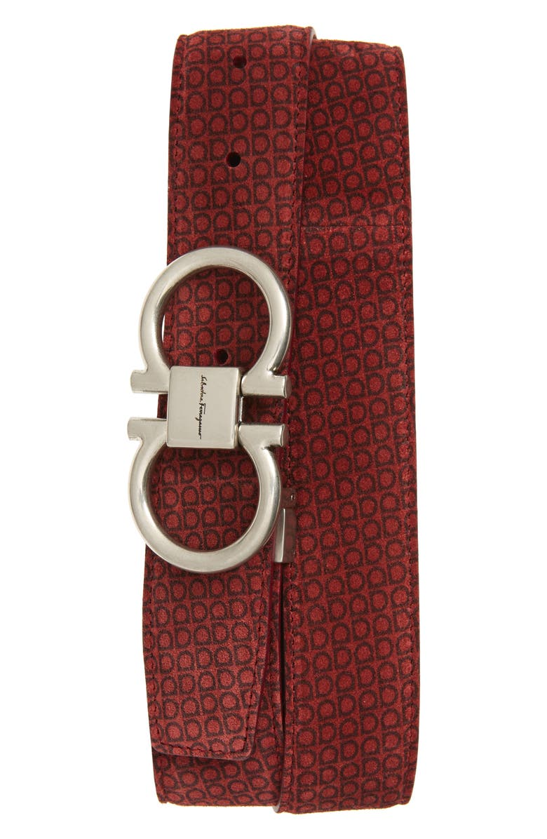 SALVATORE FERRAGAMO Gancini Logo Print Suede Belt, Main, color, RED