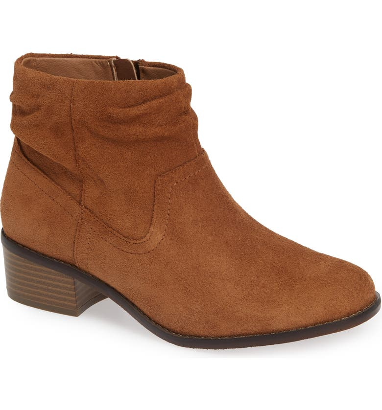 VIONIC Kanela Low Slouchy Bootie, Main, color, TOFFEE SUEDE