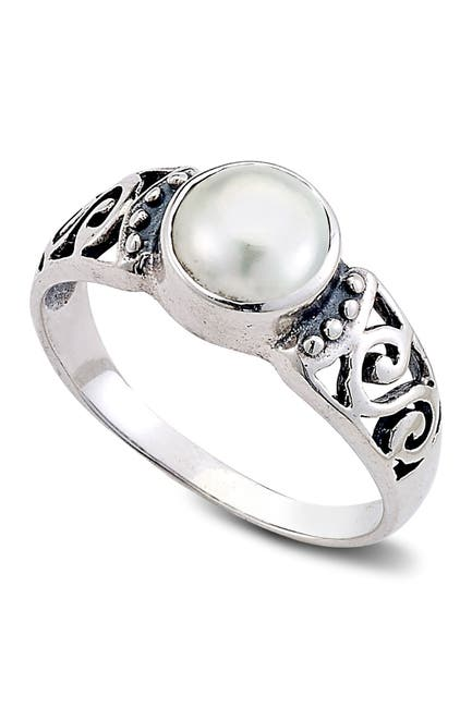 Image of Samuel B Jewelry Sterling Silver 6mm Round Freshwater Pearl Ring