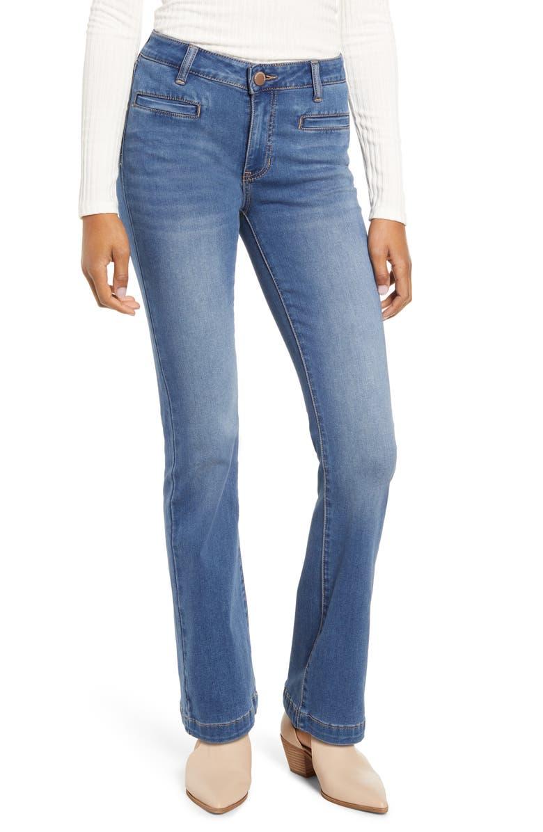 PROSPERITY DENIM Kate Flare Jeans, Main, color, MEDIUM WASH
