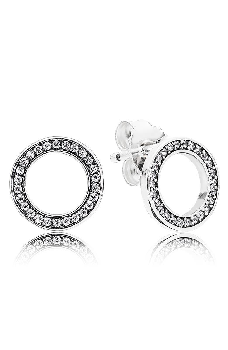 PANDORA 'Forever Pandora' Cubic ZirconiaStud Earrings, Main, color, SILVER