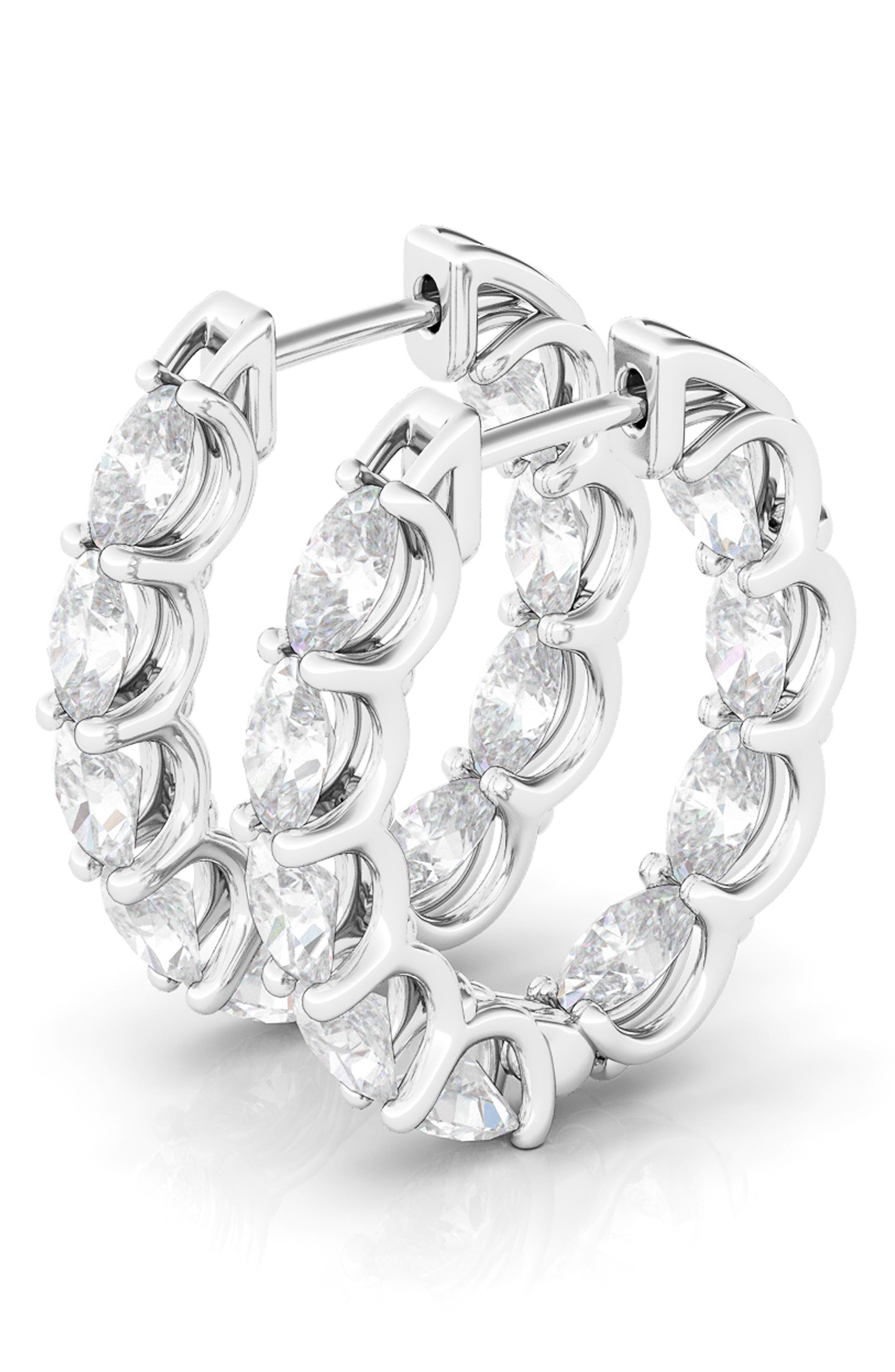 Oval Lab-Created Diamond Inside Out 14K Gold Hoop Earrings