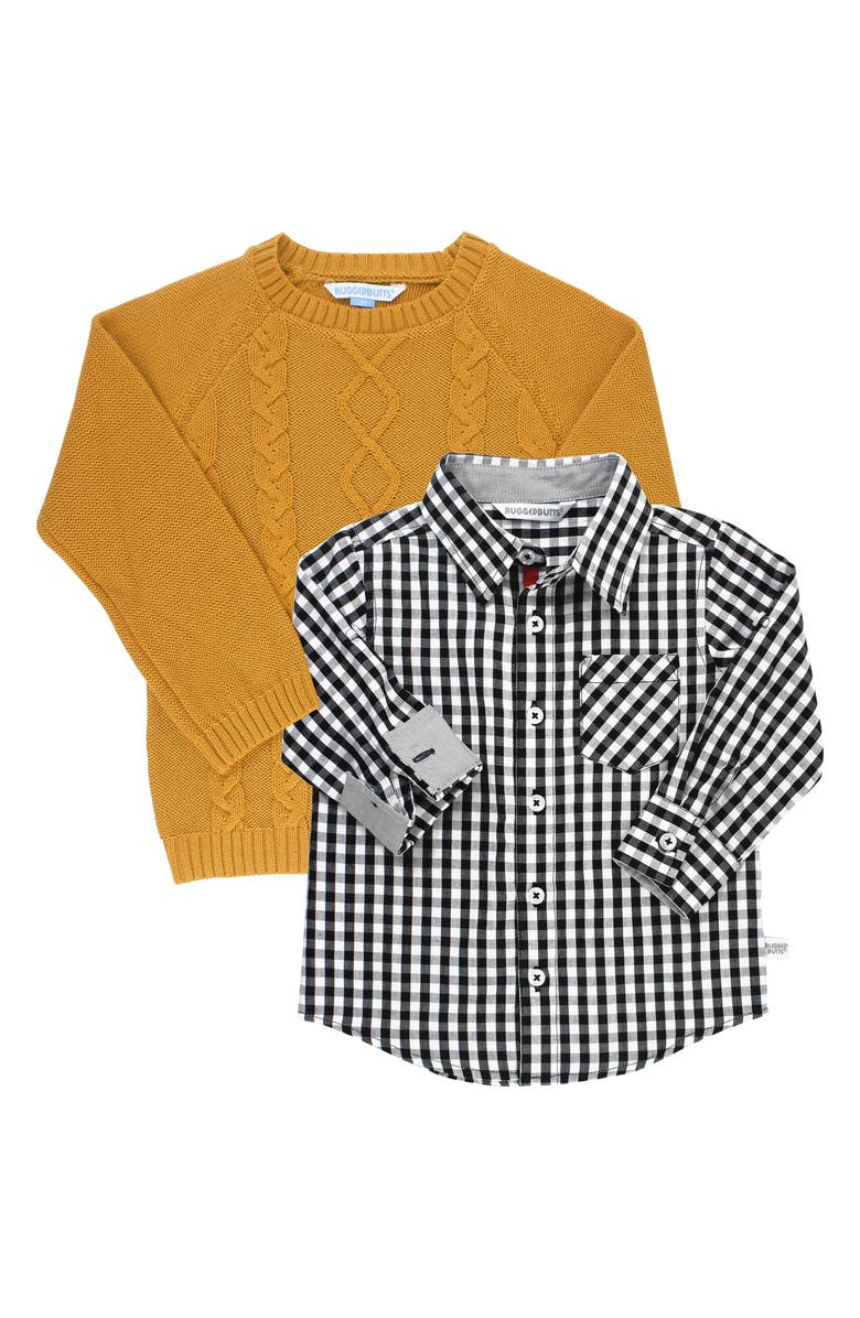 RUGGEDBUTTS Cable Knit Sweater & Gingham Shirt Set, Main, color, YELLOW