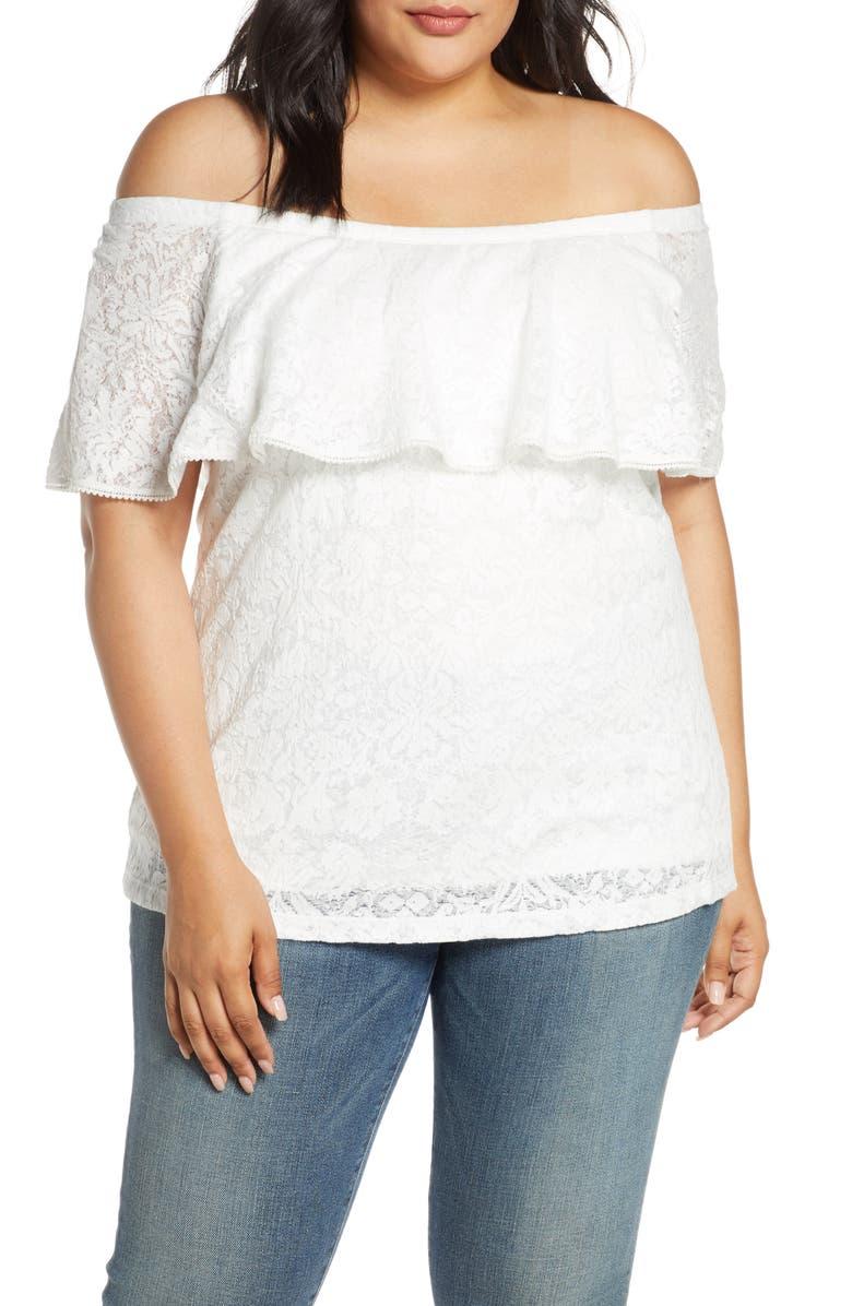 ESTELLE Convertible Off the Shoulder Cotton Blend Lace Blouse, Main, color, MILK