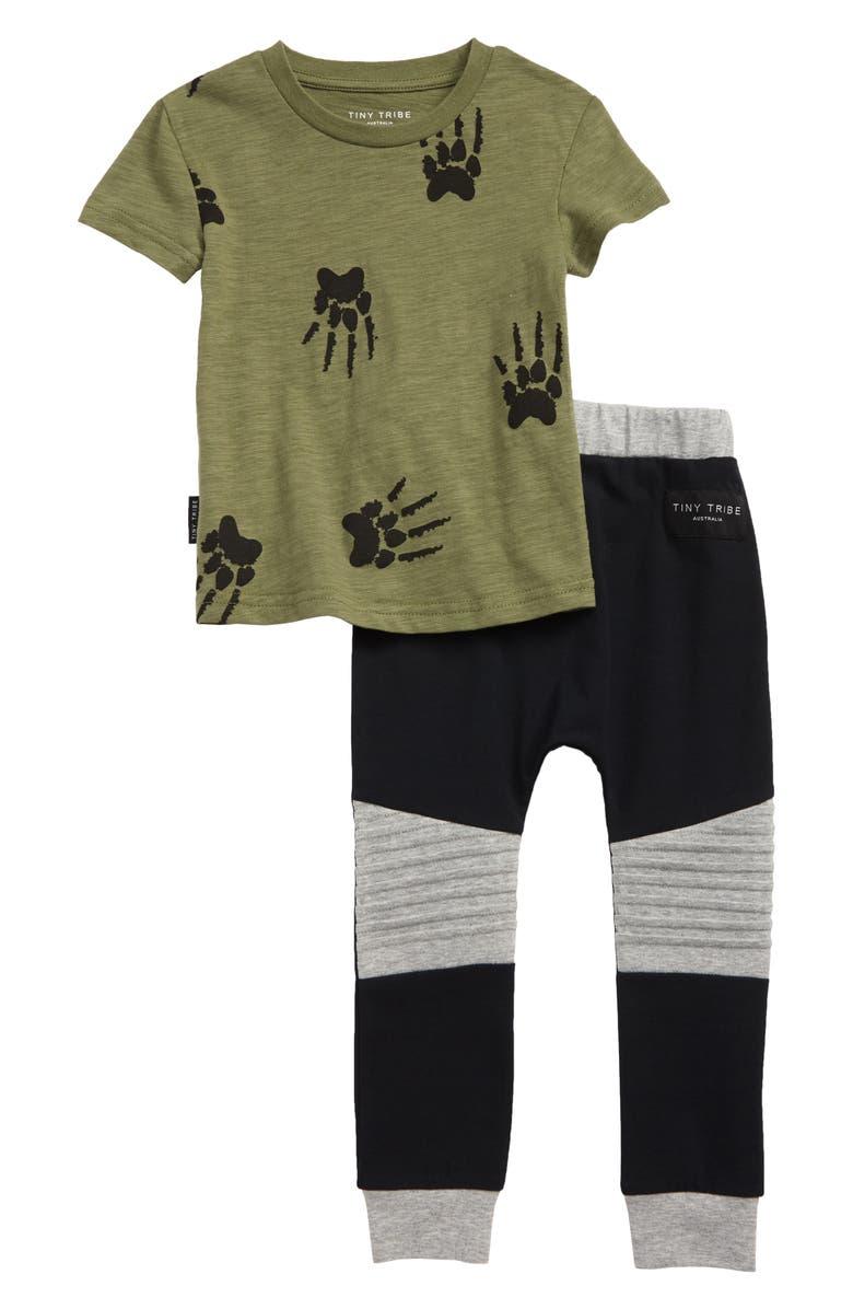 TINY TRIBE Paw Print T-Shirt & Sweatpants Set, Main, color, KHAKI / BLACK