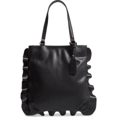 Sole Society Arwen Ruffle Trim Faux Leather Tote -