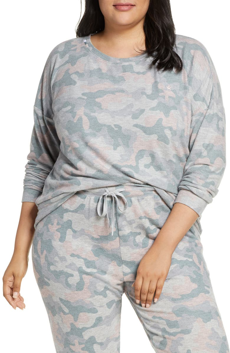 PJ SALVAGE Weekend Love Lounge Top, Main, color, HEATHER GREY