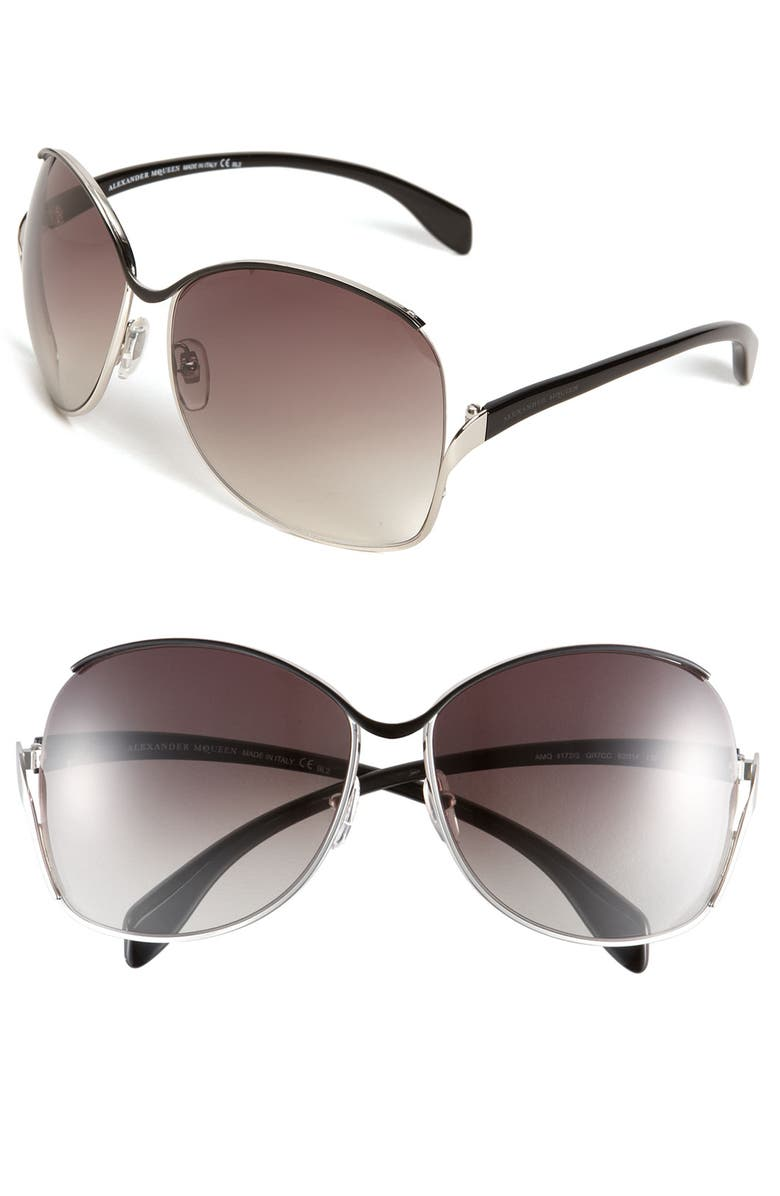 ALEXANDER MCQUEEN Retro Metal Sunglasses, Main, color, 002