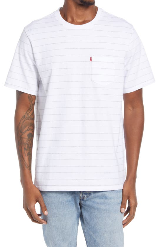 Levi's Relaxed Fit Pocket T-shirt In White Neutral In Dudleya Marshmallow Stripe