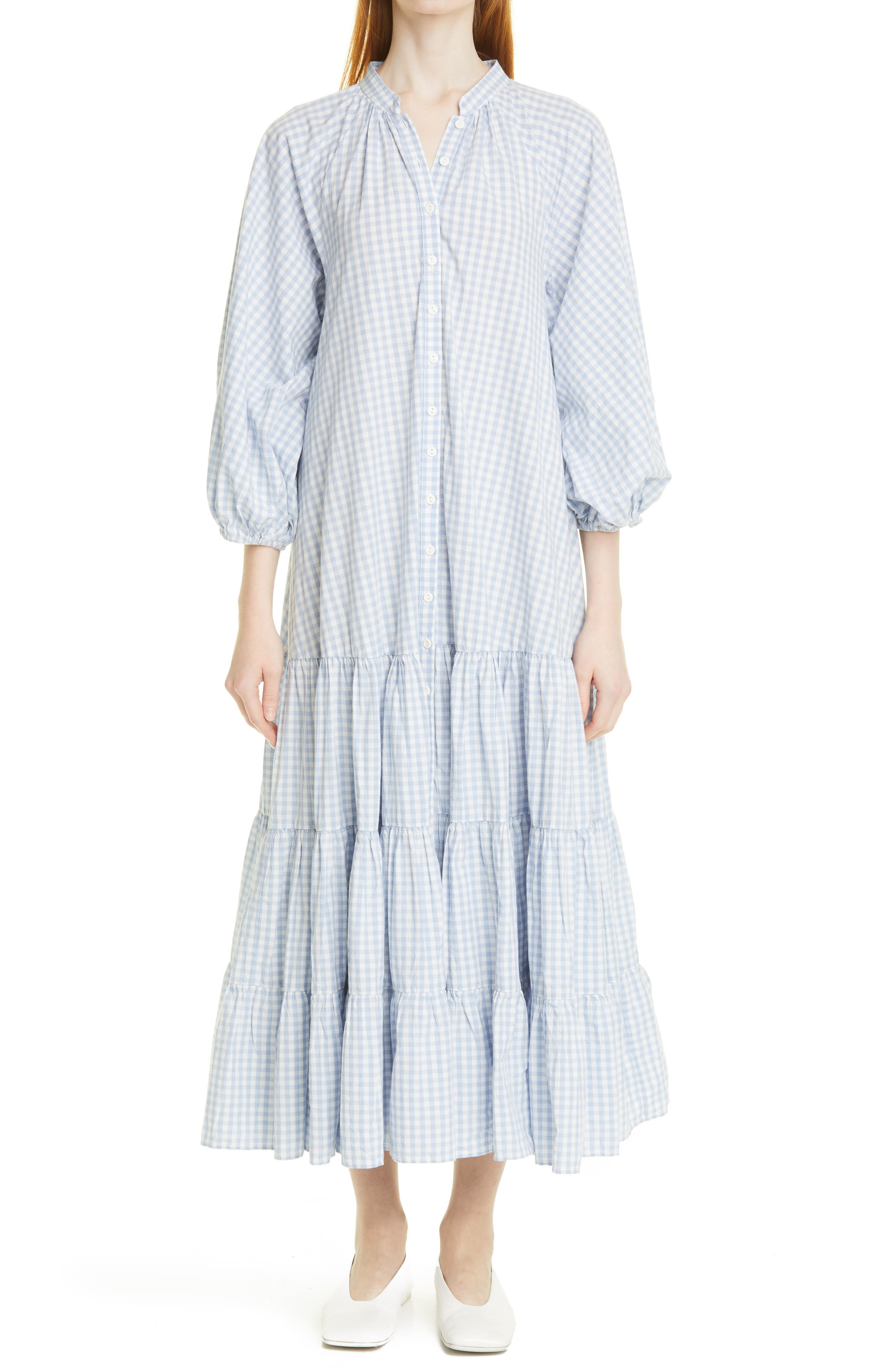 Gingham Puff Sleeve Tiered Maxi Dress
