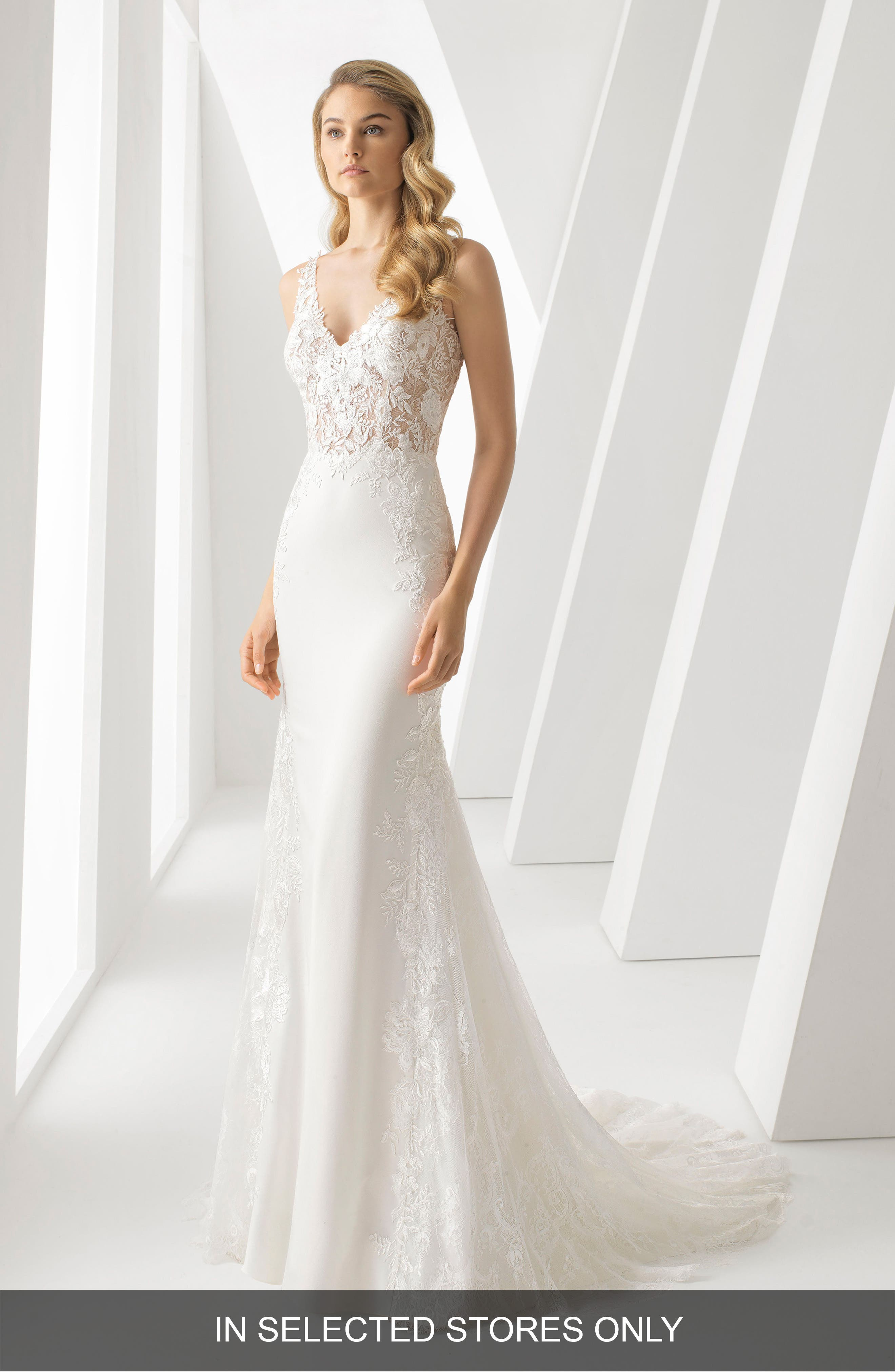 Rosa Clara Danielle Illusion Lace Bodice Mermaid Gown, Size IN STORE ONLY - White
