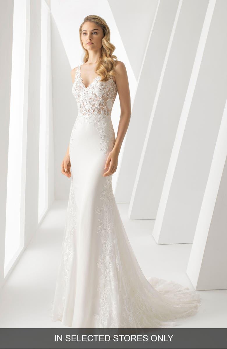 ROSA CLARÁ Danielle Illusion Lace Bodice Mermaid Gown, Main, color, NATURAL