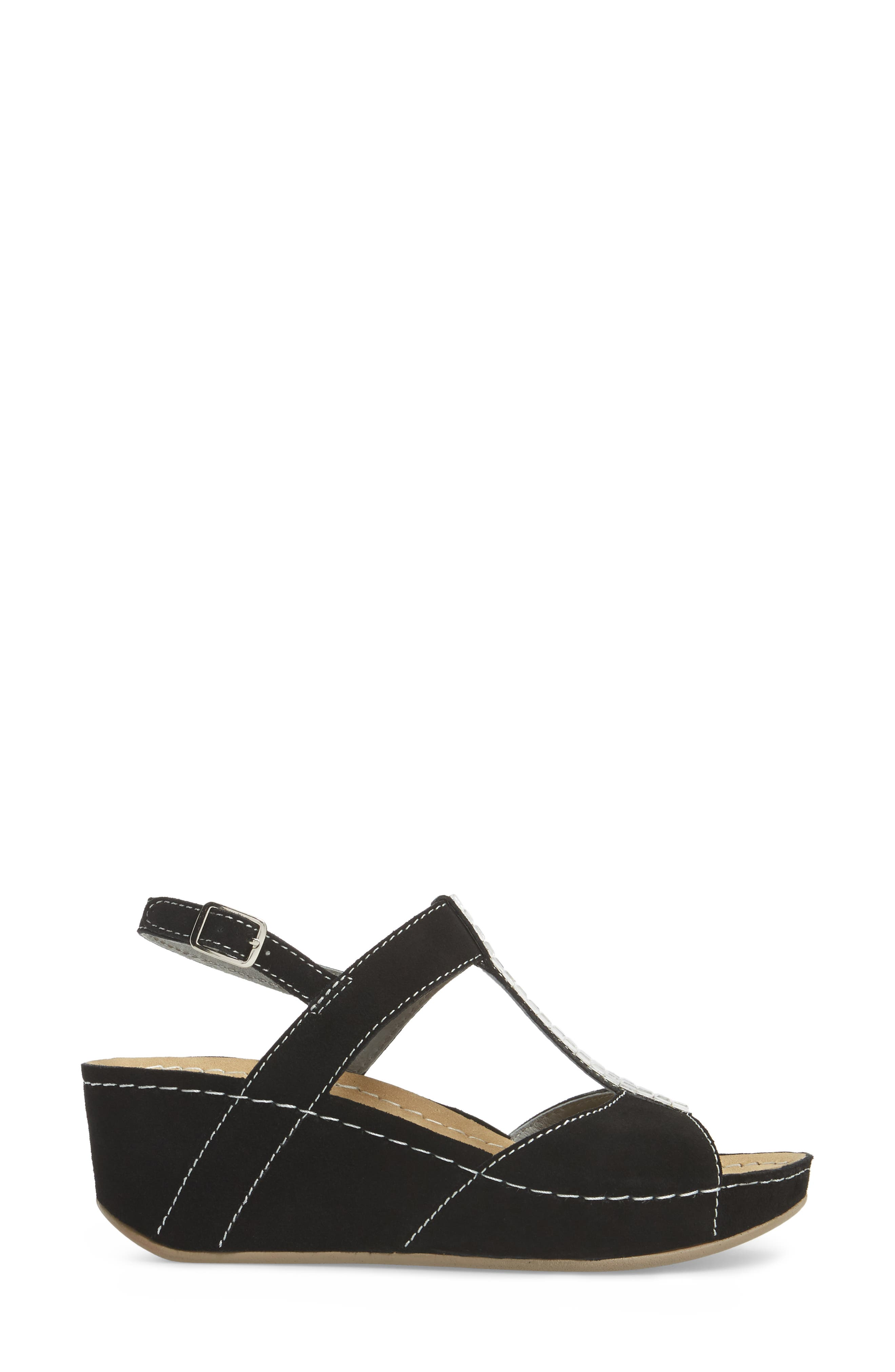 ,                             Bubbly Embellished T-Strap Wedge Sandal,                             Alternate thumbnail 3, color,                             BLACK SUEDE